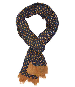 Woolen Scarf Navy and camel pattern