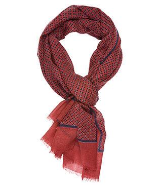 Woolen Scarf Red and navy pattern