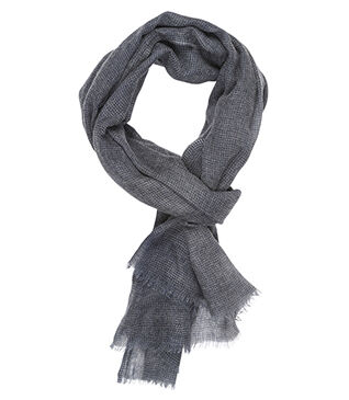 Woolen Scarf Navy and grey with pattern