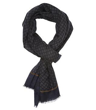 Woolen Scarf Navy and kaki with pattern