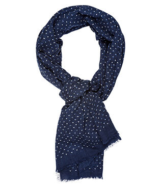 Cotton Thin Scarf Navy, white and blue pattern