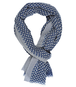 Cotton Thin Scarf Double face blue pattern