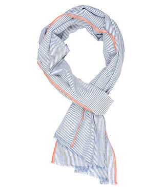 Cotton Thin Scarf Blue and white stripes with border