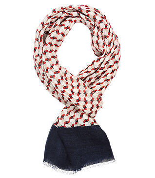 Linen Thin Scarf Red and blue pattern