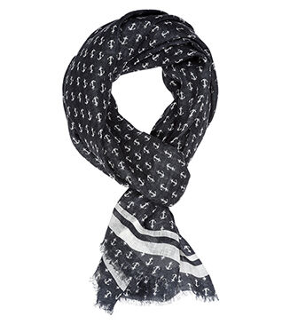 Linen Thin Scarf Anchors pattern with grey blue background