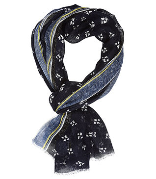 Linen Thin Scarf Navy and white pattern