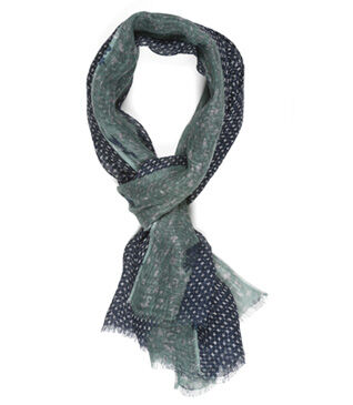 Linen Thin Scarf Navy and green pattern