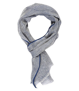 Linen Thin Scarf Blue and white with marine border