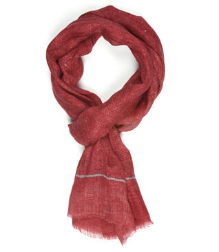 Linen Thin Scarf Red pattern Grey