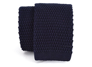 Knitted Cotton Tie Navy
