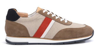 Markwood Taupe and Red Suede