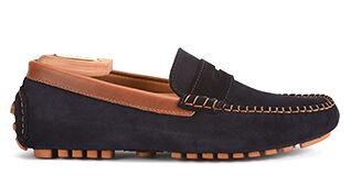 Biscayne Navy Suede and Chestnut