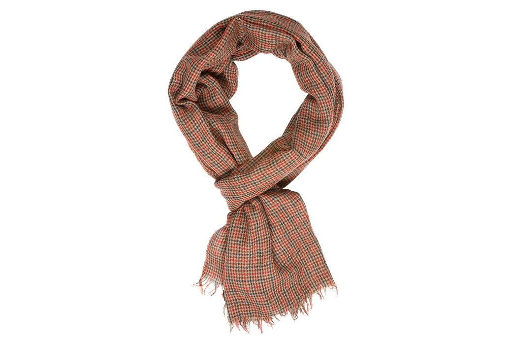 Woolen Scarf Camel red and green checks