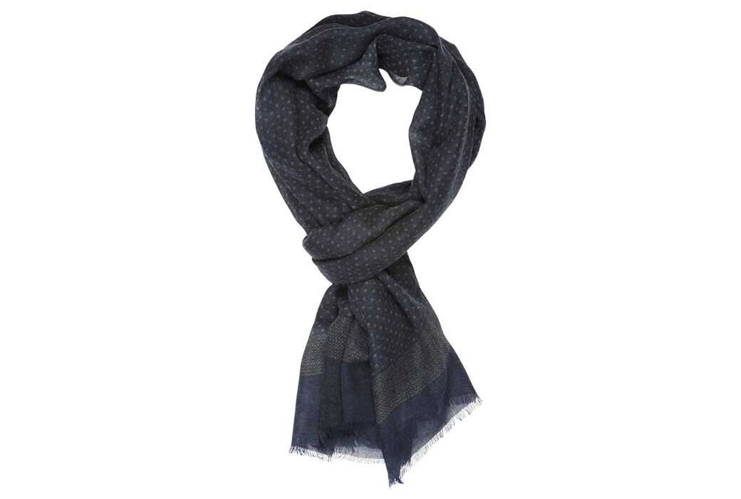 Woolen Scarf Blue and grey pattern