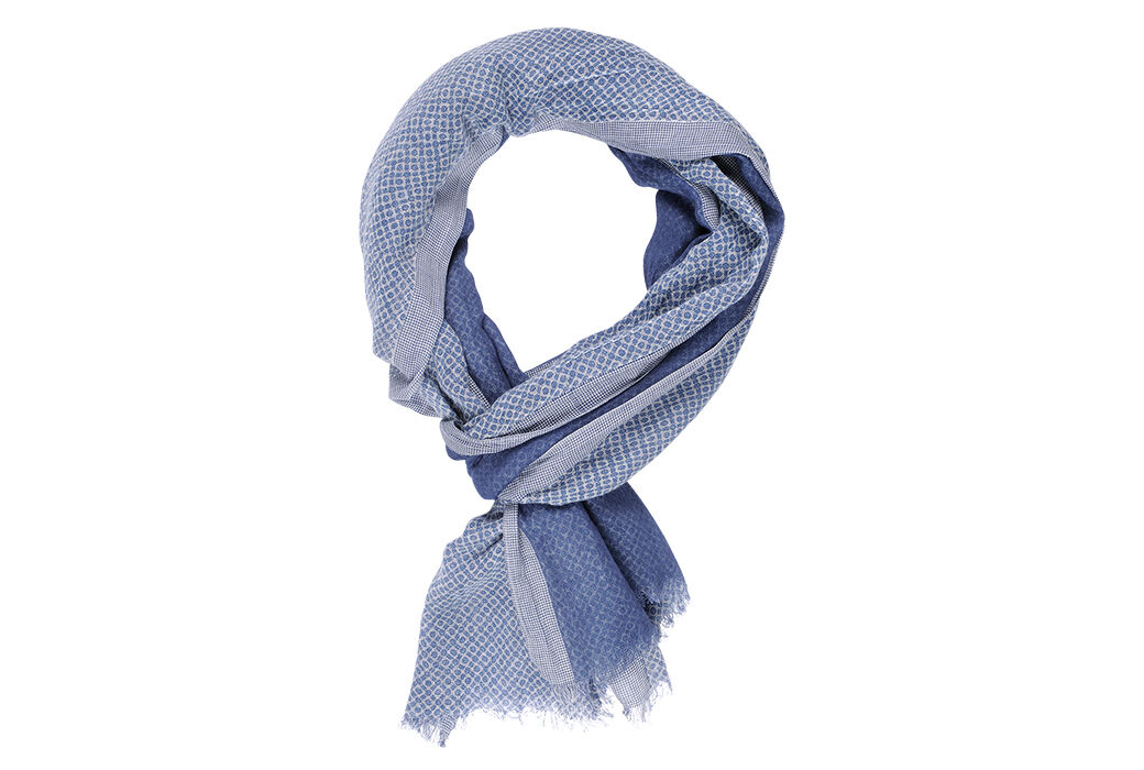 Cotton Thin Scarf Double Face with pattern and blue border