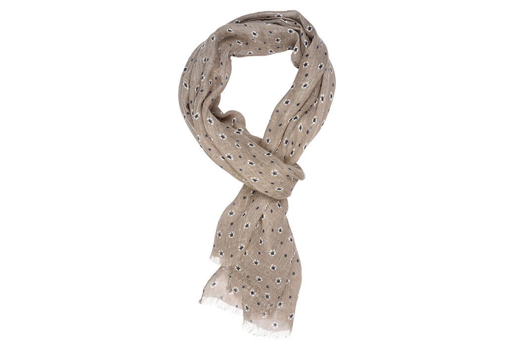 Linen Thin Scarf Taupe with white and blue pattern