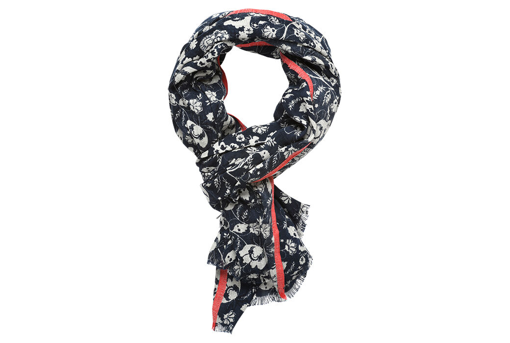 Cotton Scarf Grey melange with red border