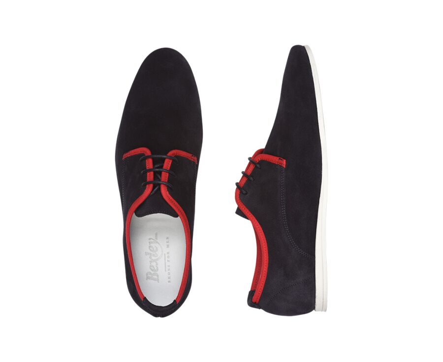 Bonnieux Navy and Red Suede