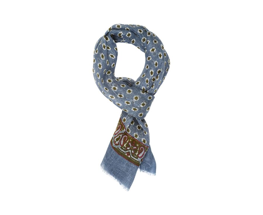 Linen Thin Scarf Grey blue with green pattern