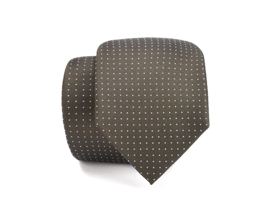 Dotted Silk Tie kaki and blue