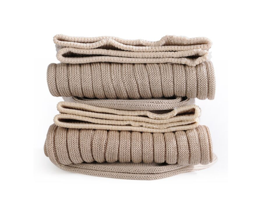 Mercerised Cotton Socks With Ribbing Beige