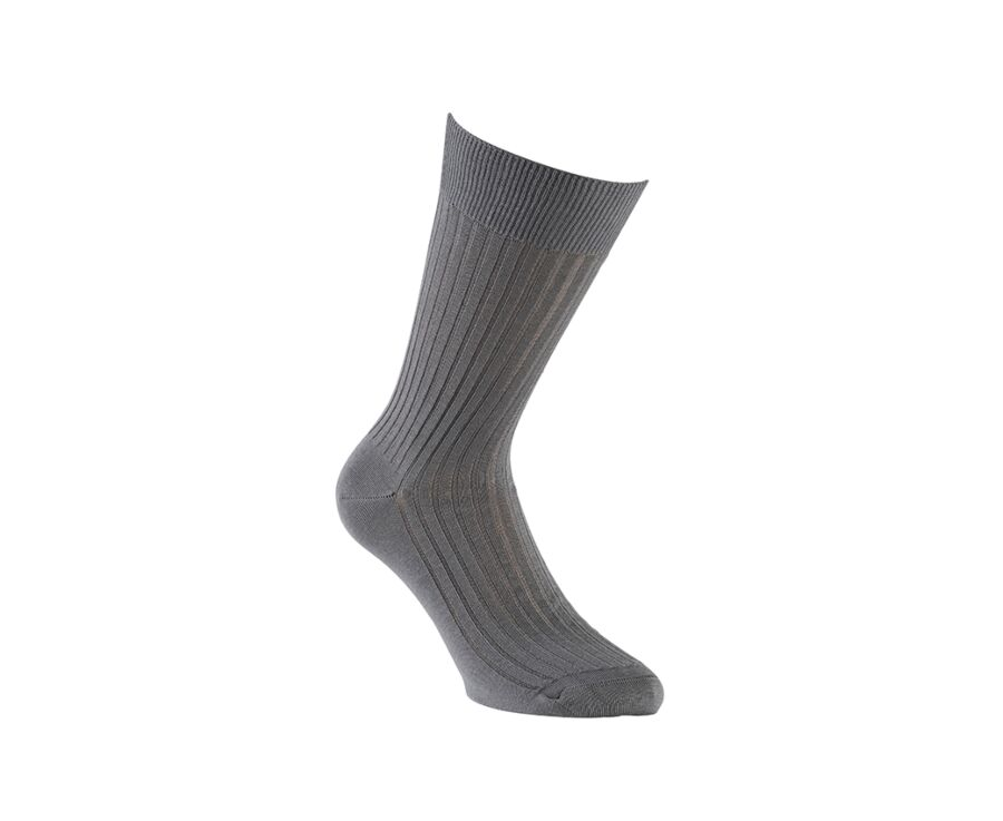 Mercerised Cotton Socks With Ribbing Grey