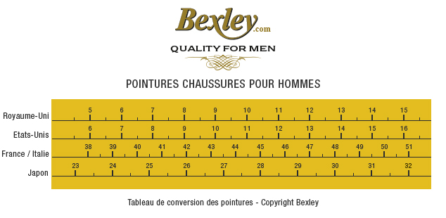 pointures chaussures homme Bexley