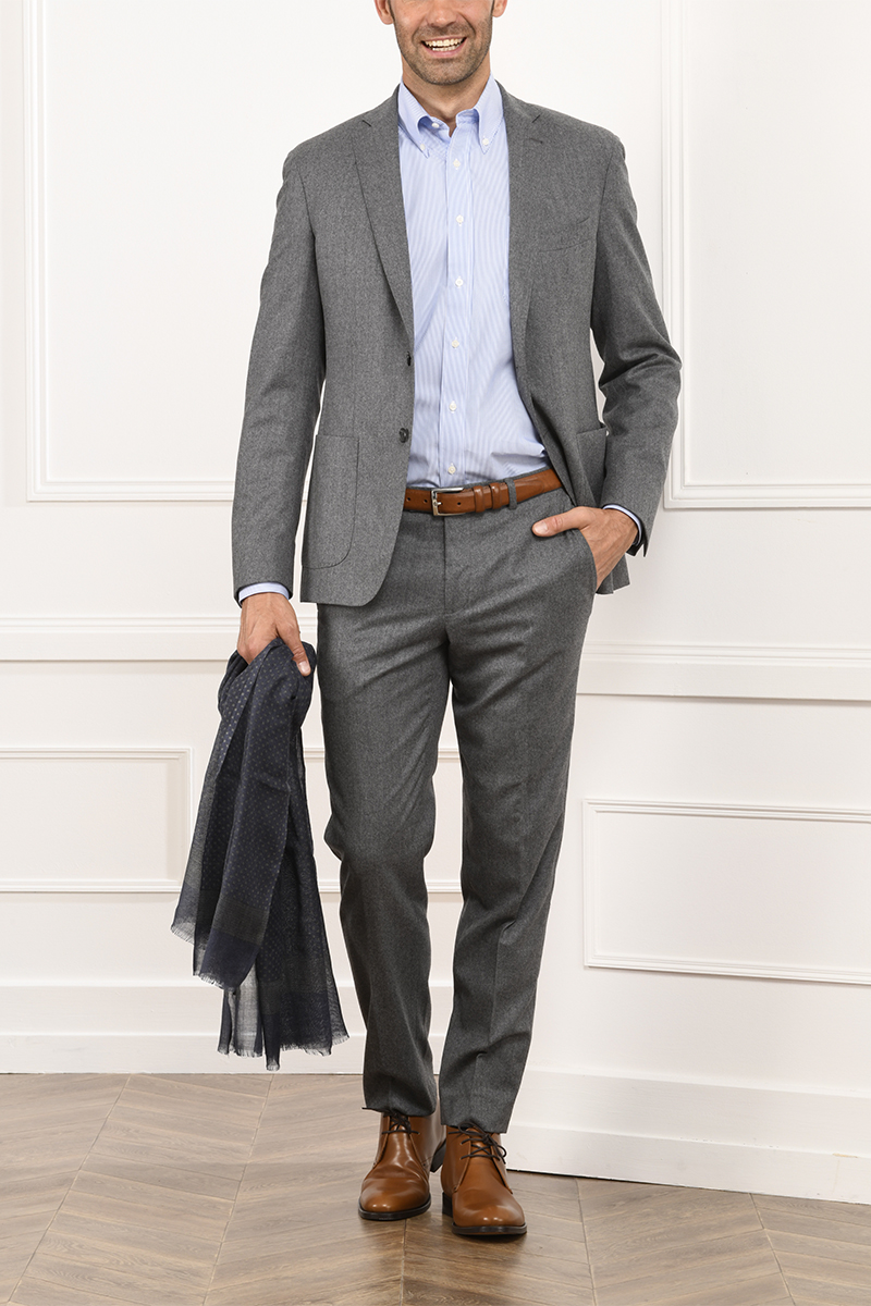 Léonard Suit light grey melange